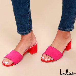 NWOT: Lulu's - 'Jax' Suede Mules (FUCHSIA)